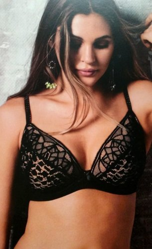 Woman wearing Black Bra