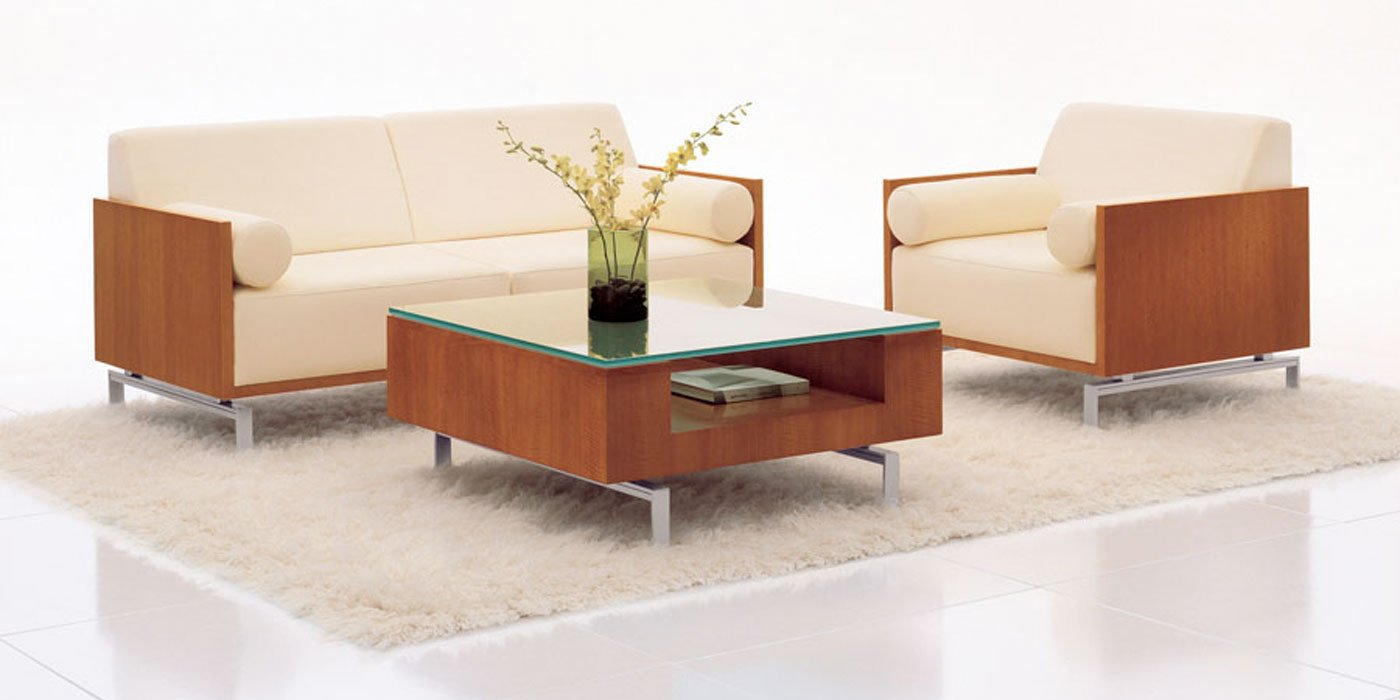 Stylish magazine table and seating