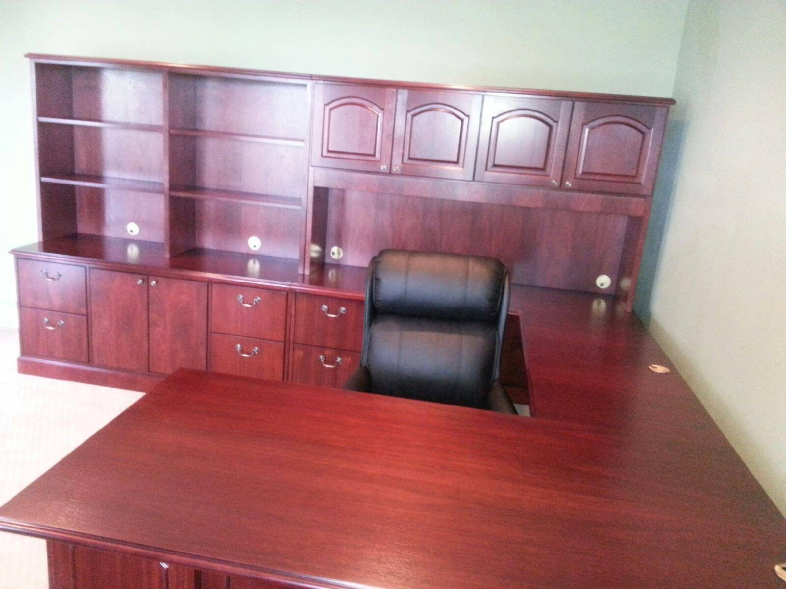 Wooden desk and cabinet
