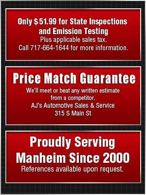 Car Repairs - Manheim, PA  - AJ's Automotive Sales & Service