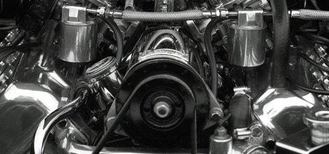 Close-up of a shiny car engine