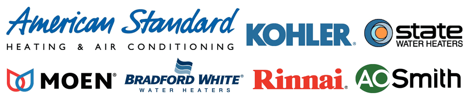 American Standard | Kohler | State Water Heaters | Moen | Bradford White | Rinnai | A.O. Smith