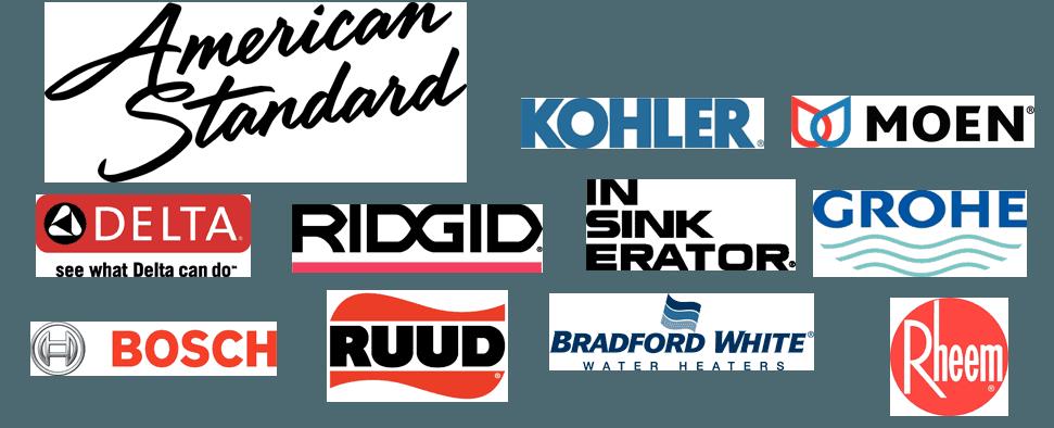 KOHLER   MOEN   American Standard   DELTA   RIDGID   Insinkerator   GROHE   BOSCH   RUDD   Bradford White   Rheem