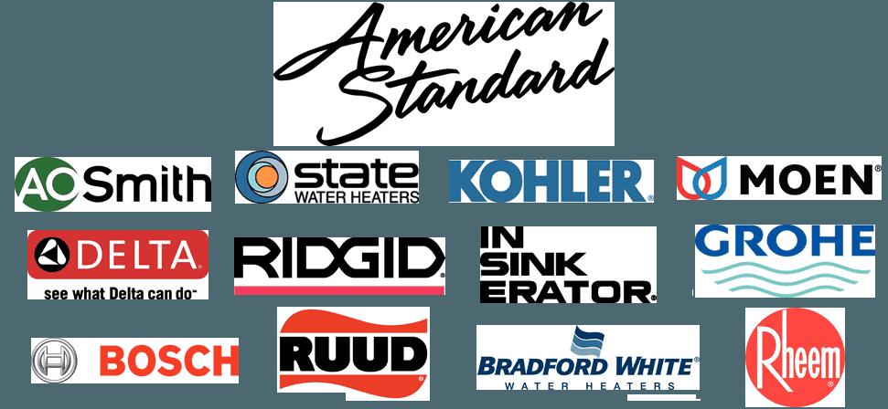 A.O. Smith | STATE Water Heaters | KOHLER | MOEN | American Standard | DELTA | RIDGID | Insinkerator | GROHE | BOSCH | RUDD | Bradford White | Rheem
