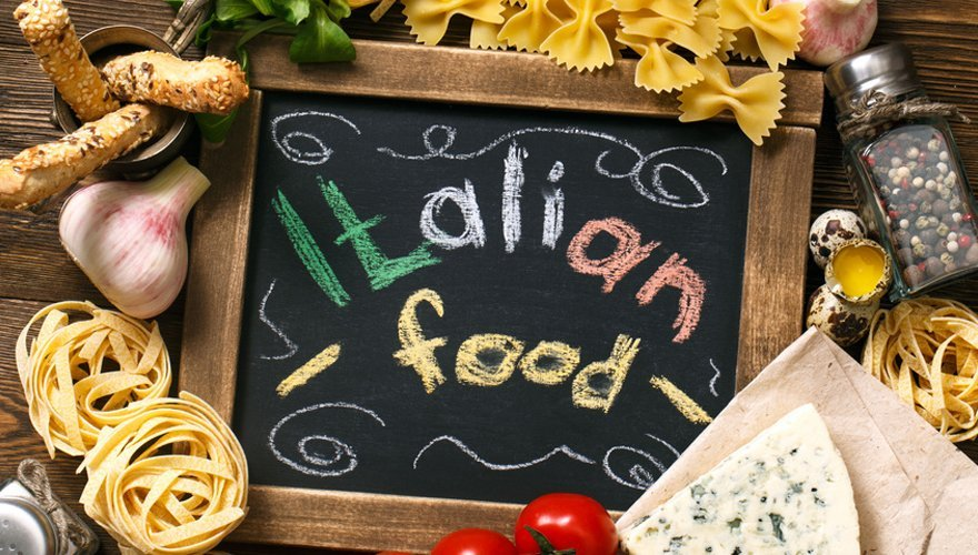 Italian food lettering on board