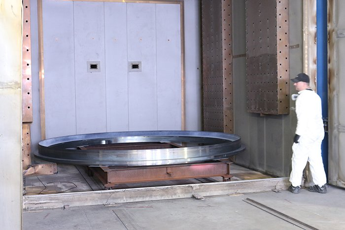FEP Coated ring being put in oven for curing