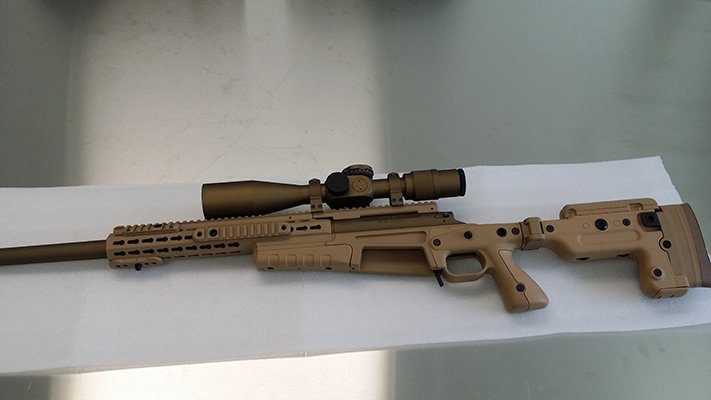 338 Lapua, Accuracy International Chassis, US Optics with coyote tan and burnt bronze