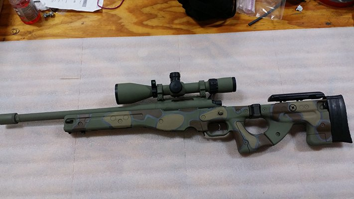 308 with Accuracy International 2.0 Folding Chassis with forrest green, brown, flat dark earth and sniper gray
