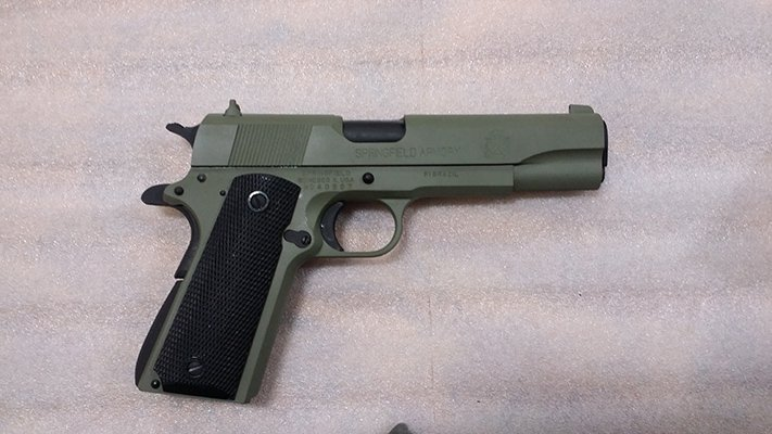 45 ACP Springfield 1911-A1, forest green and black
