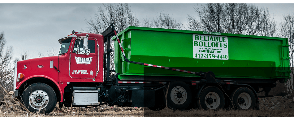 Rolloff trucks full of waste