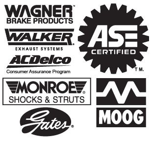 Wagner Brake Products, Walker Exhaust Systems, ACDelco Consumer Assurance Program, ASE Certified, Monroe Shocks & Struts, Gates, Moog