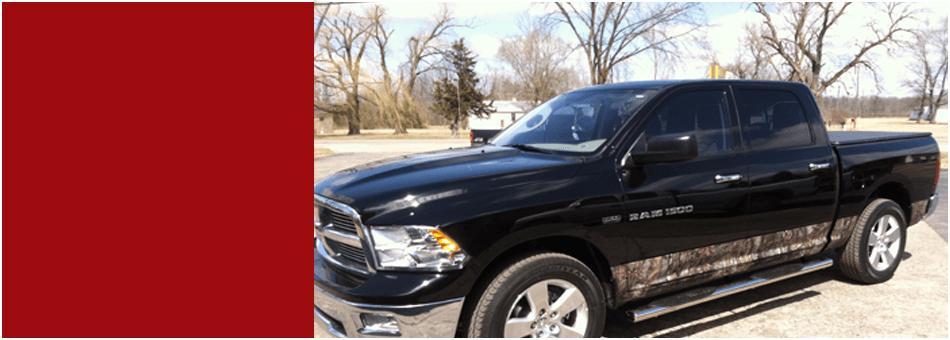A black pickup truck
