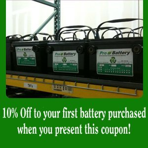 Car Battery - Fort Worth, TX - Pro Battery - 10% off any in-store purchase when you present this coupon! - coupon