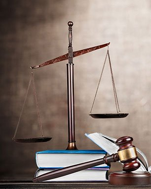 Law scale, law book, gavel
