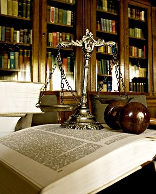 Law book, law scale, gavel