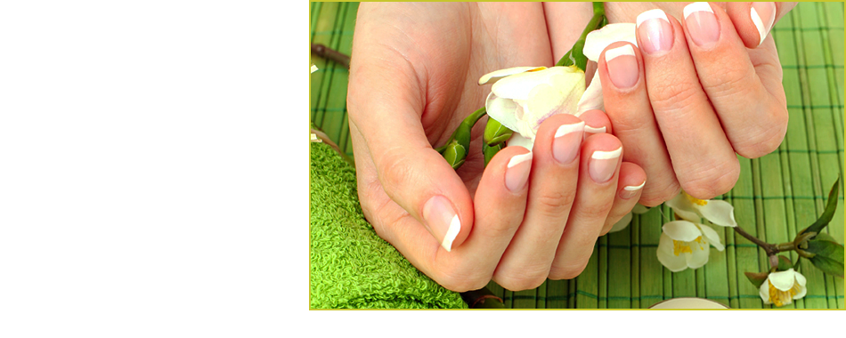 Lady's fingers with beautifyl & shiny nails & green background