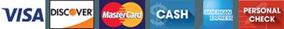 Visa, Discover, Master Card, Cash, American Express, Personal Check