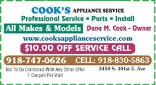 Cook's Appliance Service Coupons - Tulsa, OK