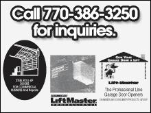 Garage Doors - Cartersville, GA - Cartersville's Atlanta Area Door - Steel Roll-up Doors, LiftMaster - Call 770-386-3250 for inquiries.