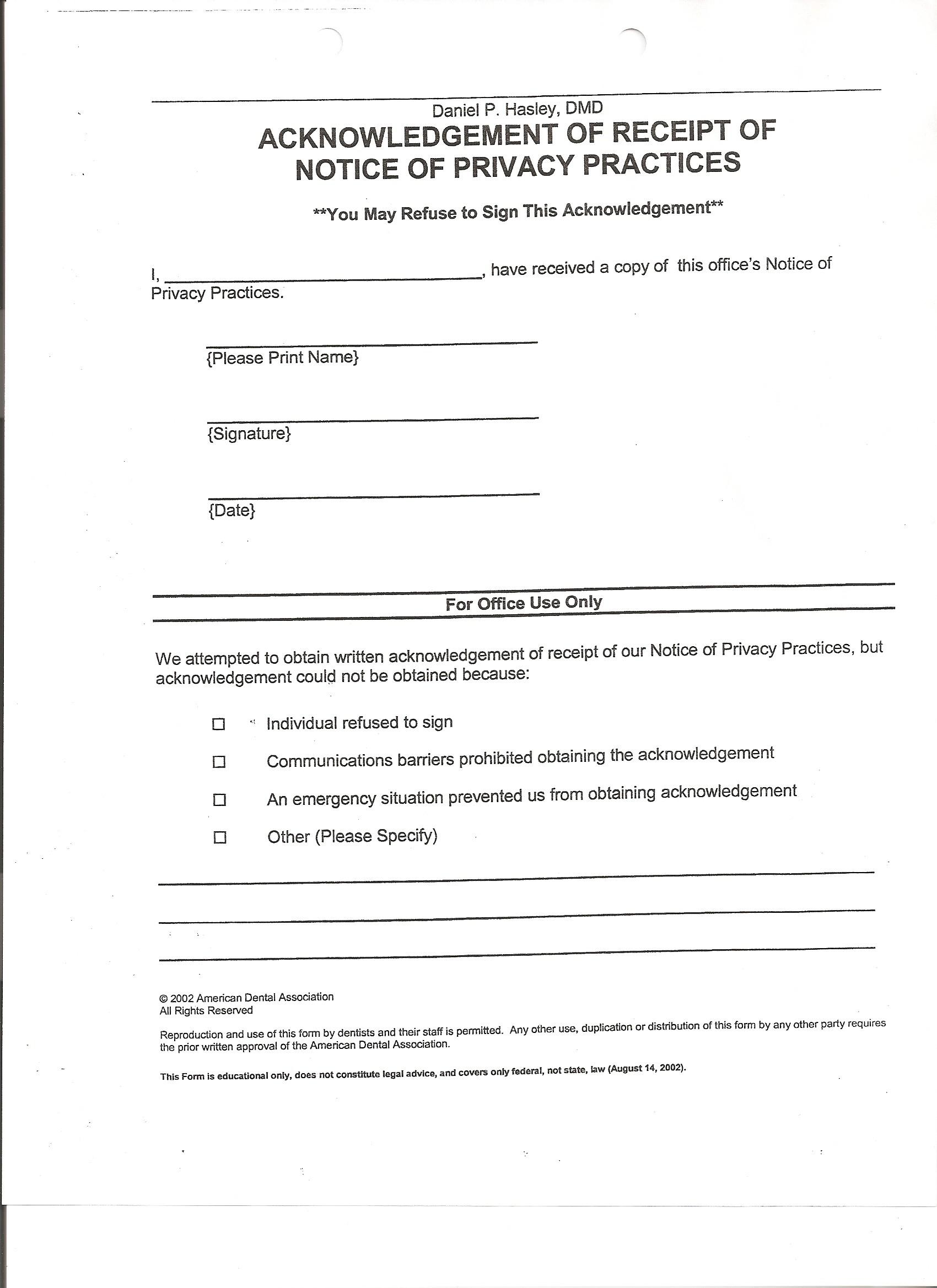 Patient Registration Acknowledgement Receipt Patient Consent Form Records  Release