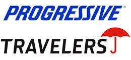 Progressive and  Travelers logo