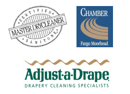 Certified Master Drycleaner, Adjust-a-Drape, and Chamber Fargo Moorhead logos