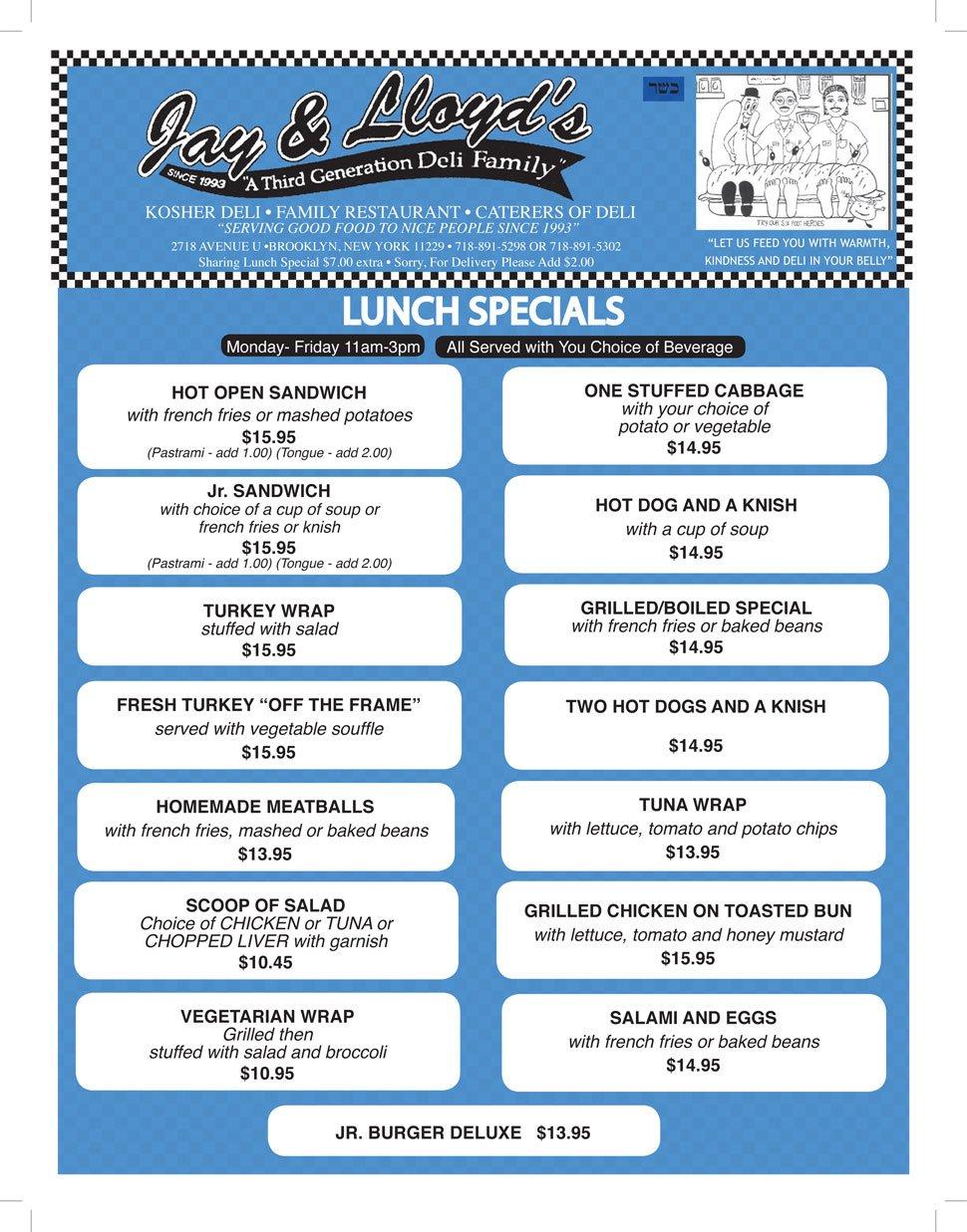 Lunch Menu| Brooklyn, NY | Jay & Lloyd's Kosher Deli | 718-891-5298
