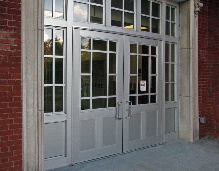 Brick building door frames