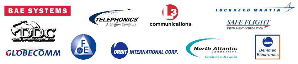 BAE Aerospace, Lockheed  Martin, Telephonics  Corp., L3  Communications, Safeflight  Instruments, Globecomm Systems, Frequency Electronuics, Orbit Instruments, North Atlantic Instruments,  Behlman Electronics
