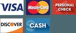 Visa, Mastercard, Personal Check, Discover, Cash