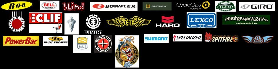 BOB, Bell, Blind, Bowflex, Burley, Cycleops, Filson, Giro, banjo, barclif, electra bike, Element, GT, haro, Lexco, Northernathletik, powerbar, rudy project, saris, schwinn, world industries, shimano specialized spitfire, SE bikes LOGO