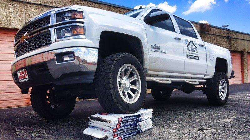 Mark Gillmeister Roofing  truck
