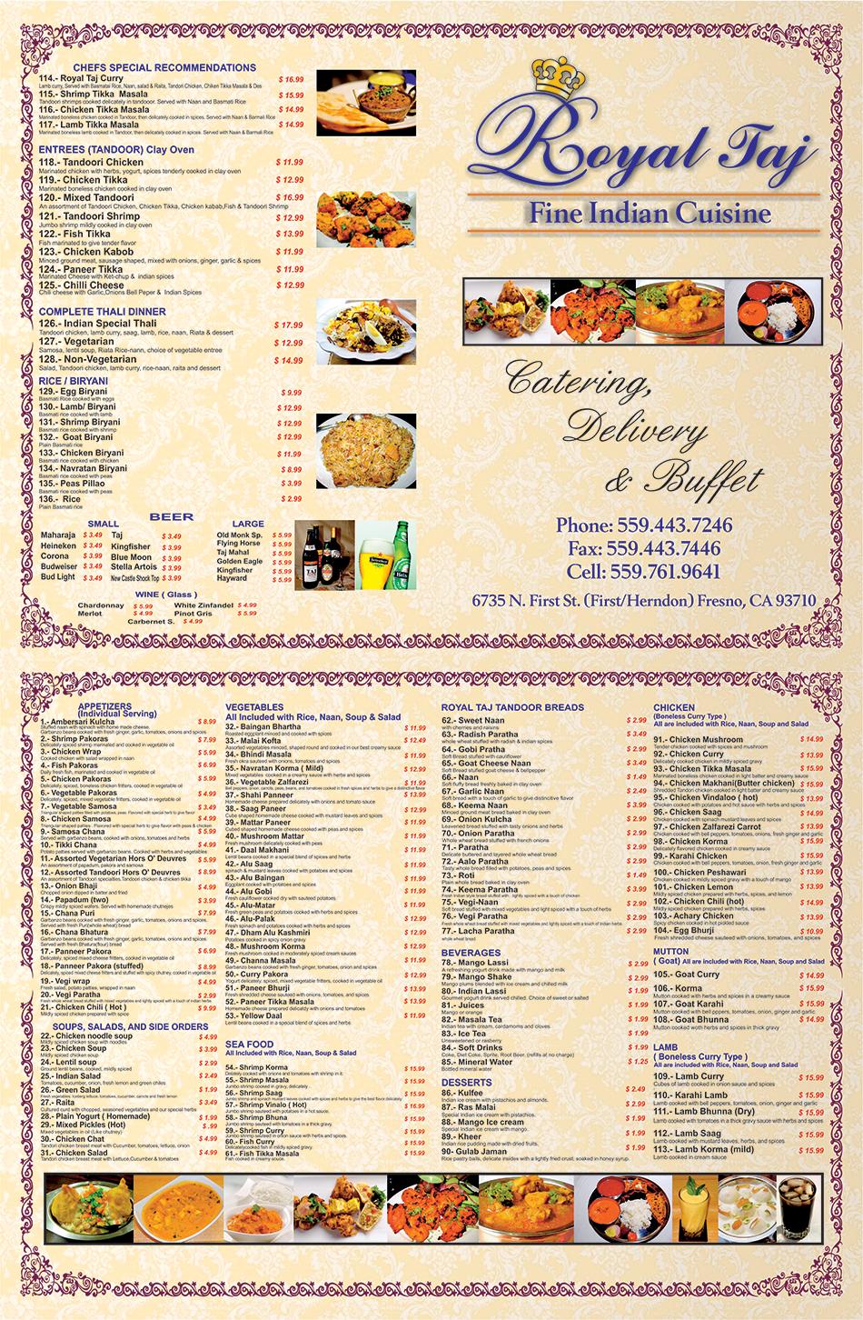 Royal Taj Fine Indian Cuisine - Menu