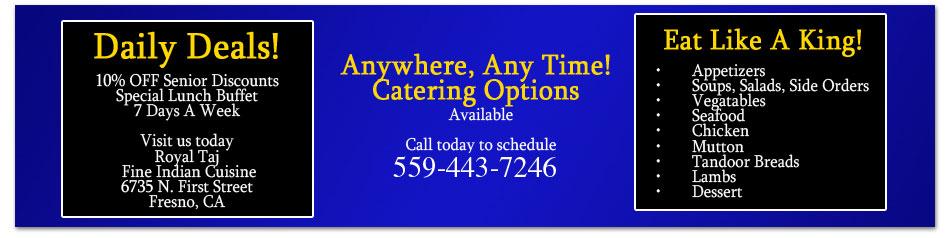 Menu - Fresno, CA  - Royal Taj Fine Indian Cuisine