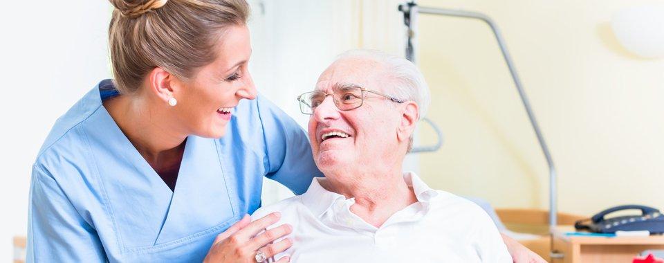 Caring old man