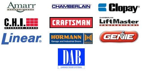 Manufacturer logos - Amarr, Chamberlain, Clopay, CHI, Craftsman, LiftMaster, Linear, Hormann, Genie, DAB