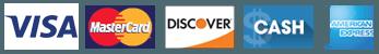 Visa, MasterCard, Discover, Cash, American Express