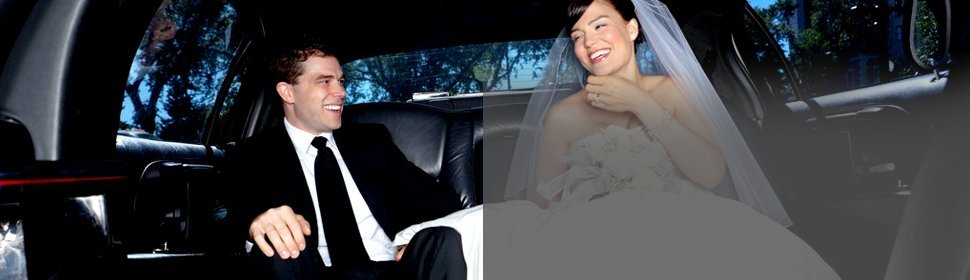 Newlywed at limousine