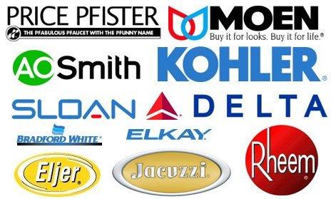 A.O. Smith, Moen, Rheem, Jacuzzi, Delta, Bradford White, Kohler, Price Pfister, Sloan, Eljer, Elkay