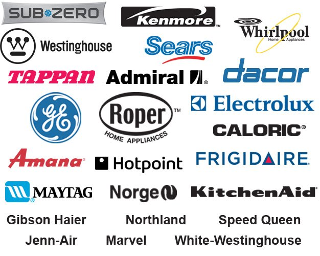 Admiral,  Amana, Caloric, Dacor, Electrolux, Frigidaire, GE, Gibson Haier, Hotpoint, Jenn-Air, Kenmore, Kitchenaid, Marvel. Maytag, Norge, Northland, Roper, Sears, Speed Queen, Sub-Zero, Tappan, Westinghouse, Whirlpool, White-Westinghouse | Logo
