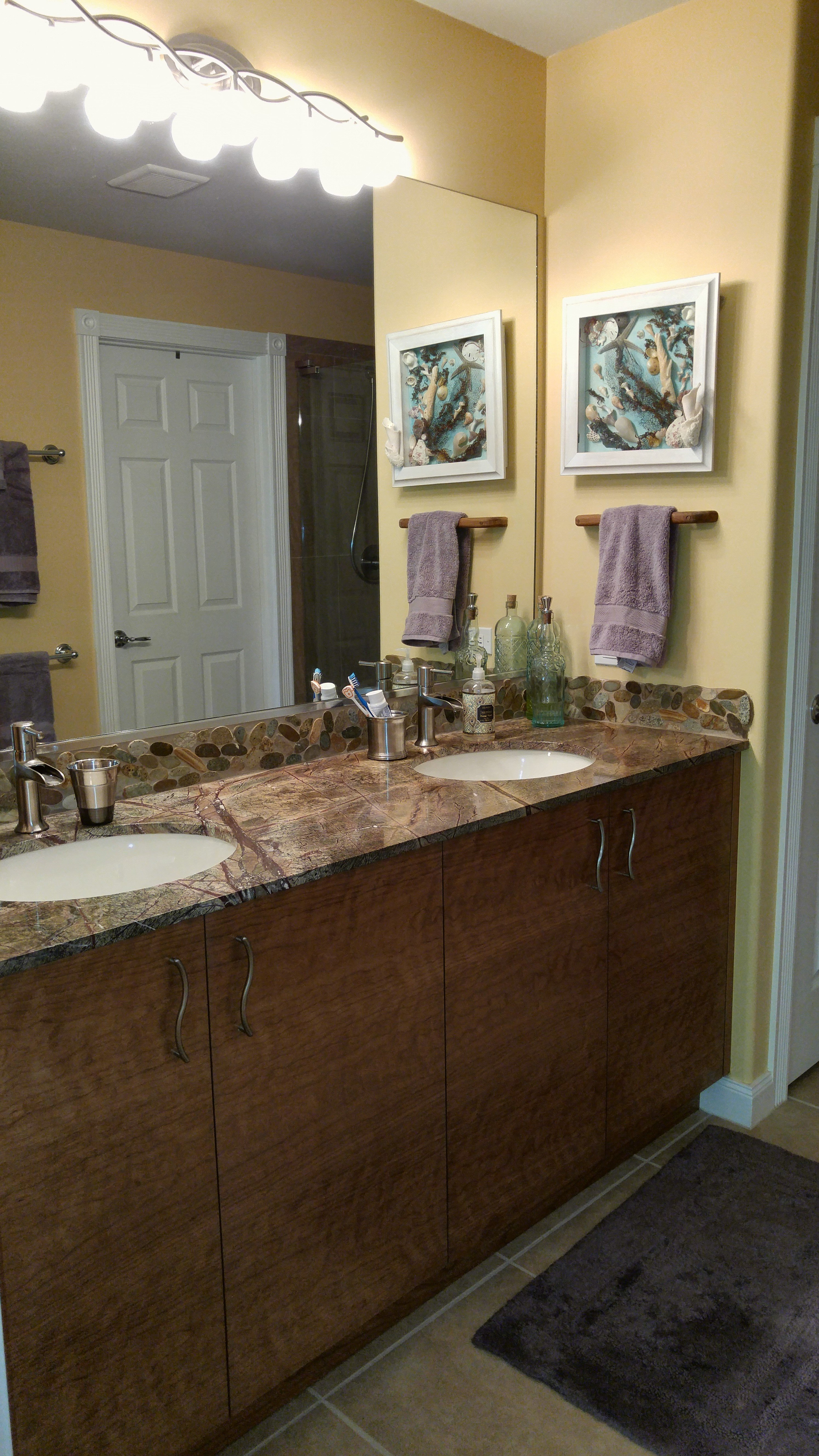 Cherry wood double sink