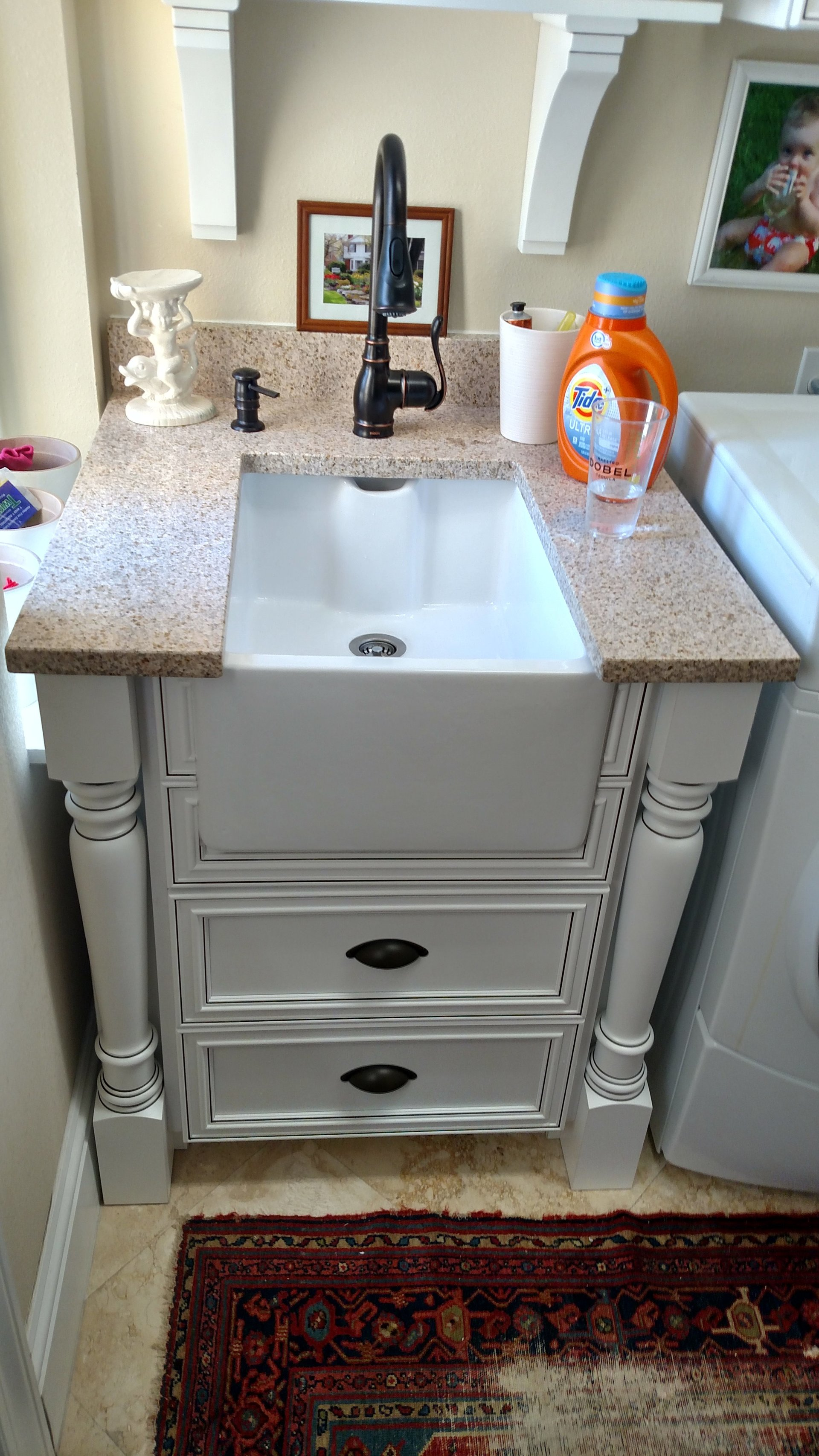 Farm sink in laundry room