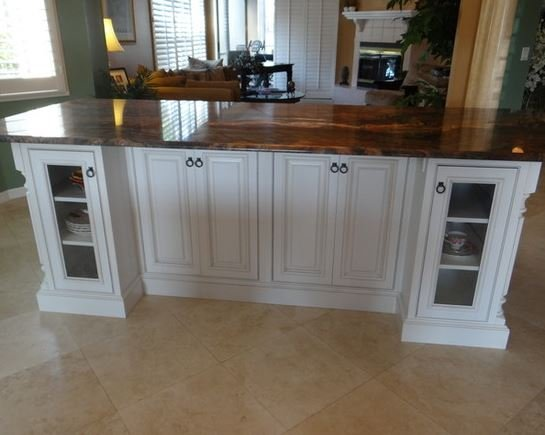 White cabinets island