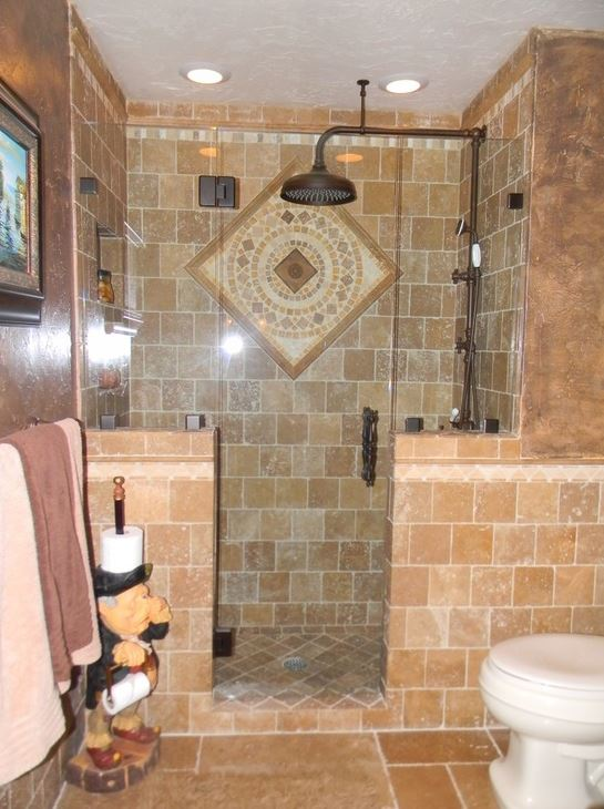 Mosaic in tuscan style bathroom