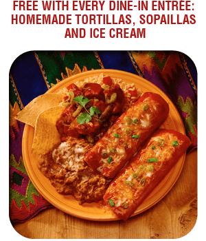 Mexican Catering - Nacogdoches, TX - La Carreta Mexican Café - Food - Free With Every Dine-In Entrée: Homemade Tortillas, Sopaillas and Ice Cream