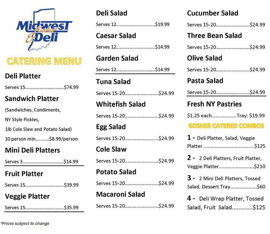 Midwest Kosher Deli - menu