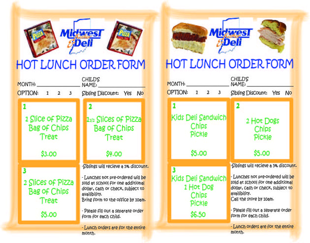 School Order Forms | Midwest Kosher Deli