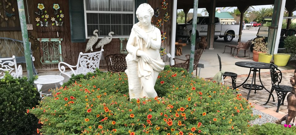 Statue and flowers