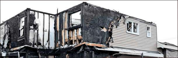 Burned residential house