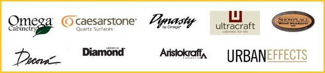 Caesarstone, Ultracraft, Omega Cabinetry, Dynasty, Aristokraft, Showplace, Decora, Diamond, Urban Effects & Financing Available